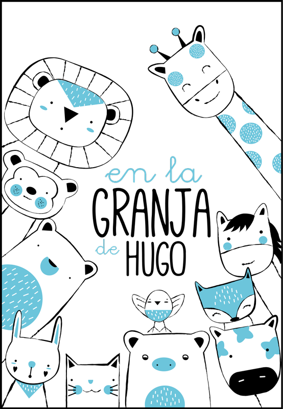 TenStickers. At the pepito farm wild animal decal. Farm animal wall sticker to decorate the space of children room. It is customisable with any name of choice and it is easy to apply.
