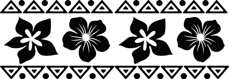 Sticker Maison Fleurs Hawaiennes Tenstickers