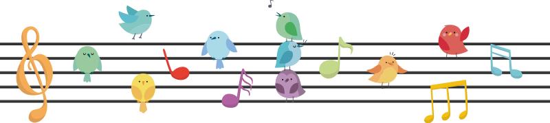 Wandtattoo Kind Notenzeile Verziert Vogelchen Tenstickers