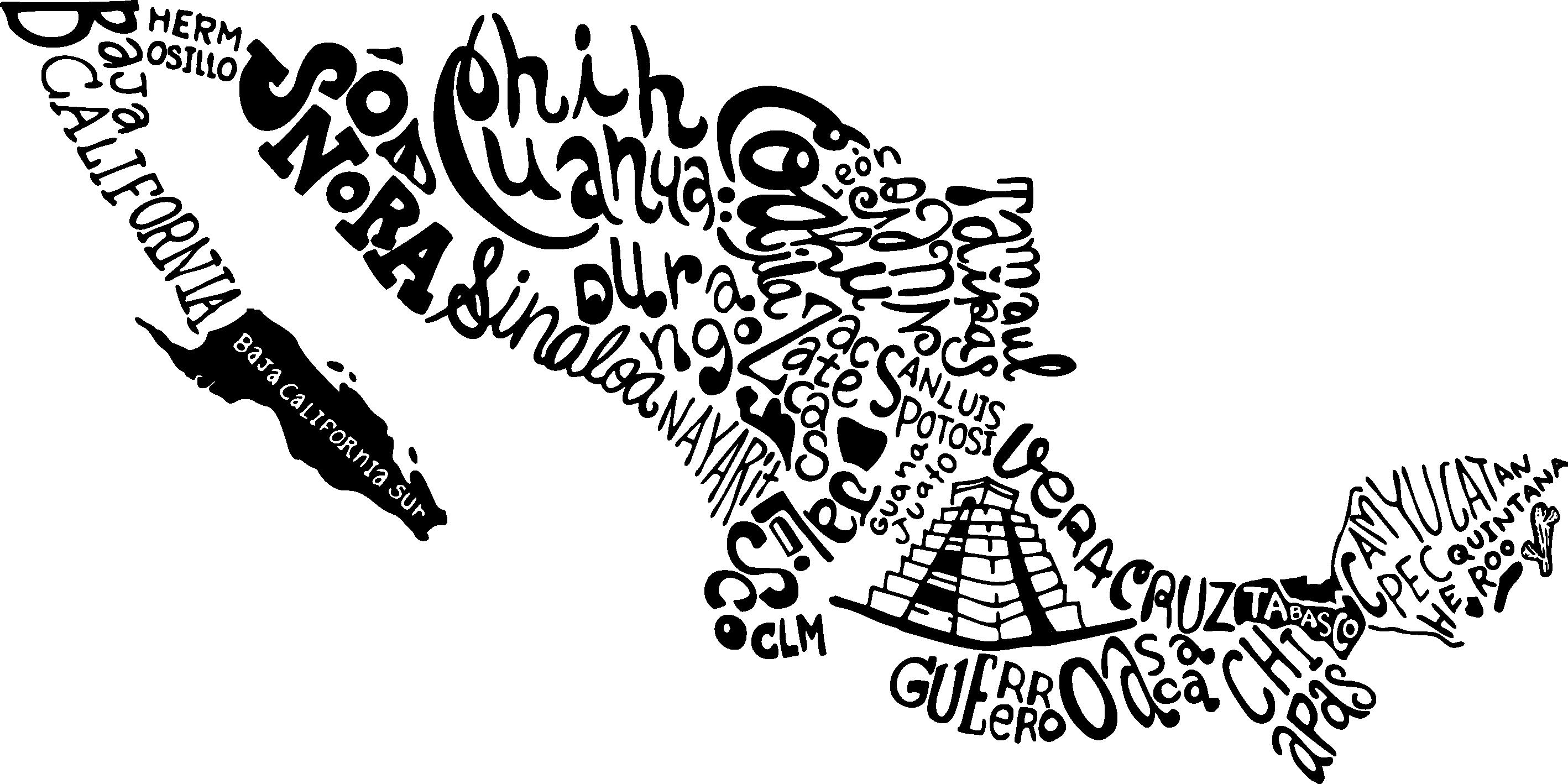 TenVinilo. Vinilo frase mapa México nombres. Vinilo adhesivo formado por el mapa de México el cual está representado por los diferentes estados que lo forman. Vinilos Personalizados a medida.