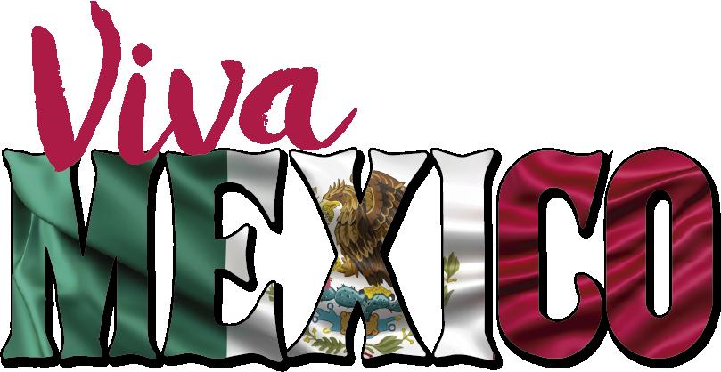 """TenVinilo. Vinilo frase Viva México. Vinilo adhesivo formado por el texto """"Viva México"""" en un color rosa fucsia y el fondo de la bandera del país. Descuentos para nuevos usuarios."""