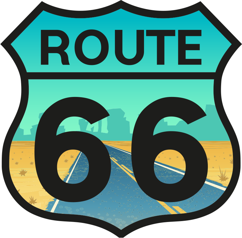 TenStickers. Route 66 Laptop Sticker. Pay tribute the most famous road in the world with this superb laptop sticker! Personalised stickers.