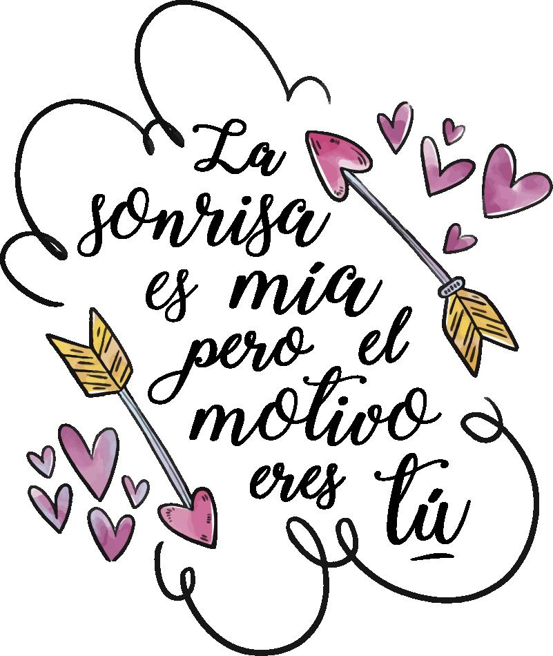 """TenVinilo. Sticker de amor Frase de San Valentín. Vinilo de San Valentín ideal para habitación juvenil formado por la frase """"La sonrisa es mía pero el motivo eres tú"""". Descuentos para nuevos usuarios."""