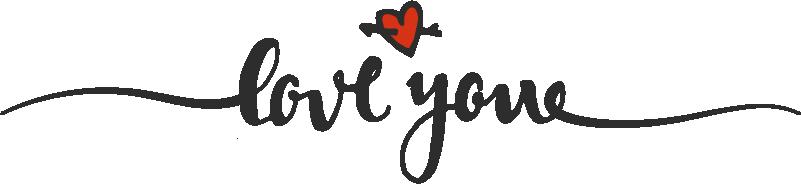 """TenVinilo. Sticker de amor Love you. Vinilo para cabecero de matrimonio formado por el texto """"Love you"""" acompañado de un pequeño corazón. +50 Colores Disponibles."""