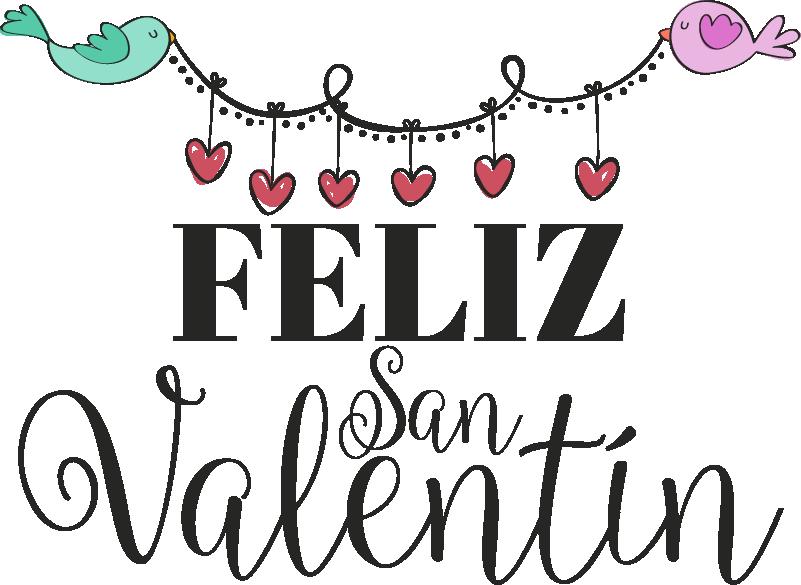 """TenVinilo. Vinilo empresa Pajaritos San Valentín. Original vinilo para escaparate formado por el texto """"Feliz San Valentín"""" acompañado de una guirnalda de corazones. Descuentos para nuevos usuarios."""