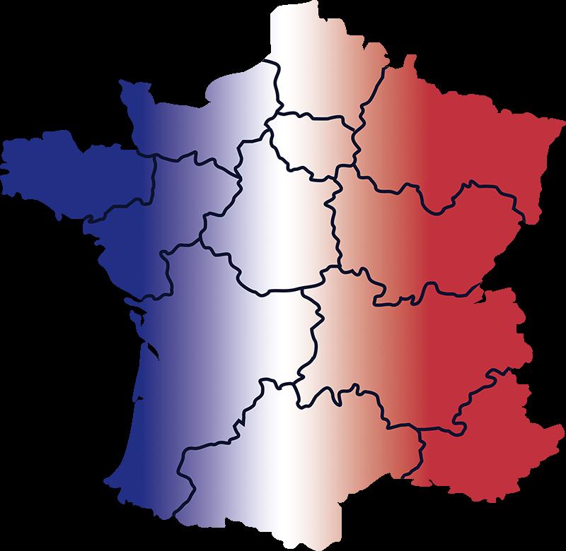 TenStickers. Sticker Maison Carte des Provinces de France. Décorez votre maison de manière originale avec une carte de france accompagné de son drapeau en sticker mural chambre enfant. Livraison Rapide.
