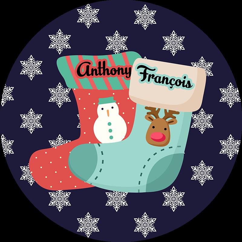 TenStickers. Sticker Chambre Enfant Chaussettes Noël Personnalisables. Décorez votre maison comme vous le souhaitez avec notre sticker mural dessin pour avoir un bon résultat. Qualité Garantie.