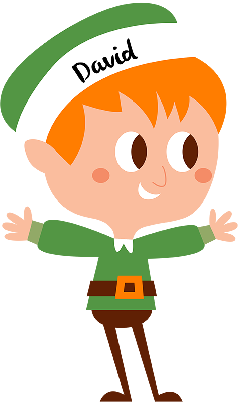 TenStickers. Male Elf Customisable Christmas Sticker. Add a customisable elf to your home with this magnificent children´s bedroom Christmas wall sticker! Discounts available.