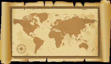TenStickers. Sticker klassieke wereldkaart. Een leuke muursticker met de afbeelding van een oude wereldkaart afgebeeld op een rol papyrus. Een leuk decoratie idee voor je woning.