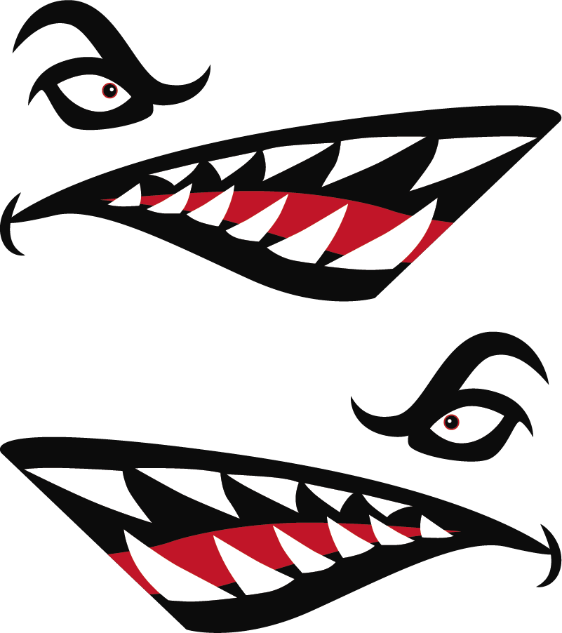 TenStickers. Shark Teeth Vehicle Sticker. Transform your car into a scary shark with this fantastic car decal, depicting the teeth and eyes of the legendary shark! Available in 50 colours.