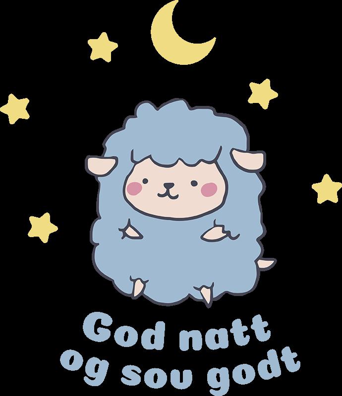 """Tenstickers. """"god natt... """" barnehage vegg klistremerke. Barnas klistremerke, som viser en søt sau med tekst """"god natt og sov godt"""". Perfekt for rom til et nyfødt barn eller litt eldre barn."""