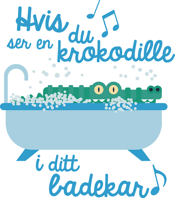 """Tenstickers. """"hvis du ser en krokodille... """" barnas klistremerke. Dette barnets romklistre viser en krokodille i et badekar med teksten til sangen """"hvis du ser en krokodille"""". Barna dine vil sikkert elske det!"""