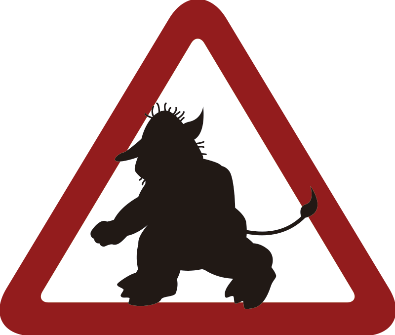 "TenStickers. ""Warning! Troll"" Door Sticker. This funny sticker illustrates a troll in a warning road sign! It is a perfect decoration for your wall, door or even mailbox!"
