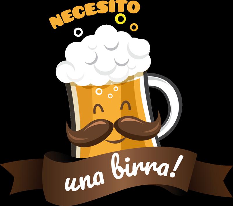 """TenVinilo. Vinilo cocina necesito una birra. Original pegatina adhesiva formada por el texto """"Necesito una birra!"""" y acompañada de la ilustración de una. Vinilos Personalizados a medida."""