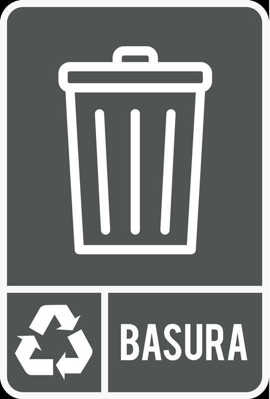 TenVinilo. Señalética autoadhesiva reciclaje basura general. Original pegatina adhesiva para fomentar el reciclaje con el icono de la basura general. Promociones Exclusivas vía e-mail.