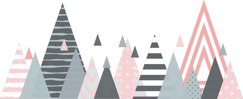 TenVinilo. Vinilo cabecero Geométrico estilo nórdico. Original cabecero adhesivo para dormitorio juvenil con el diseño de unos triángulos de estilo nórdico. Precios imbatibles.