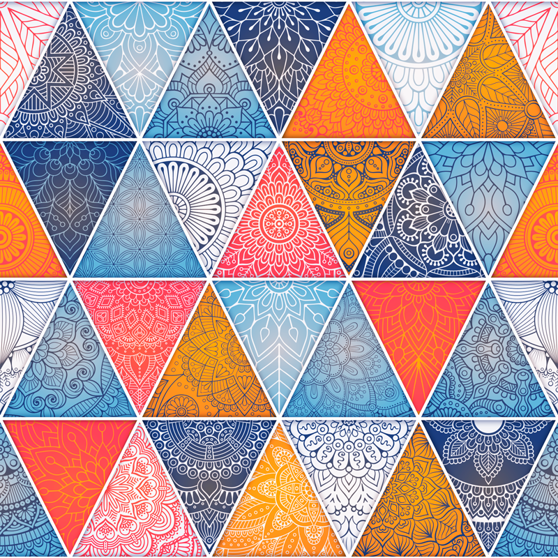 TenStickers. Mandala triangle wall mural decal. Geometric mandala Wall Mural sticker for home decoration. A design made of colorful multiple triangle patterns with mandala prints.