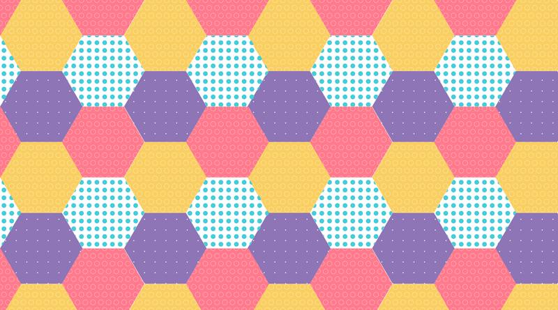 TENSTICKERS. 幾何学的パッチワークヘッドボード壁デカール. 家の装飾のための幾何学的なパッチワークの壁のステッカー。カラフルな背景を持つ複数の六角形パターンで設計されています。