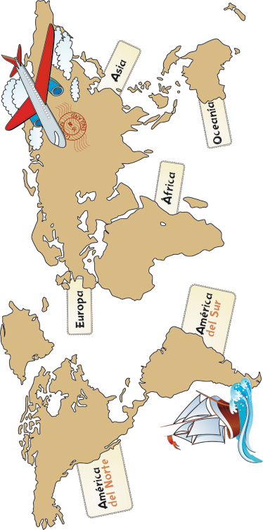 TenVinilo. Vinilo infantil mapa mundi continentes. Viajar, explorar, volar, navegar y conocer medio mundo con este didáctico Adhesivo infantil de un atlas marcando los siete continentes de los que se compone el planeta.