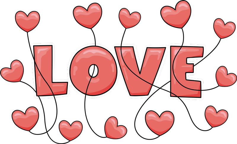 """TenVinilo. Vinilo decorativo amor frase globos de corazón. Vinilo de corazones y amor para tu pared con la frase """"LOVE"""" y globos de corazones perfecto para llenar tu casa de amor ahora ¡Envío a domicilio!"""
