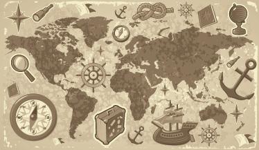 TenStickers. Vinil infantil mapa mundo clássico. Dê uma nova decoração ao quarto do seu filho com este autocolante de parede infantil do mapa mundo com viagens das mais históricas viagens já feitas.