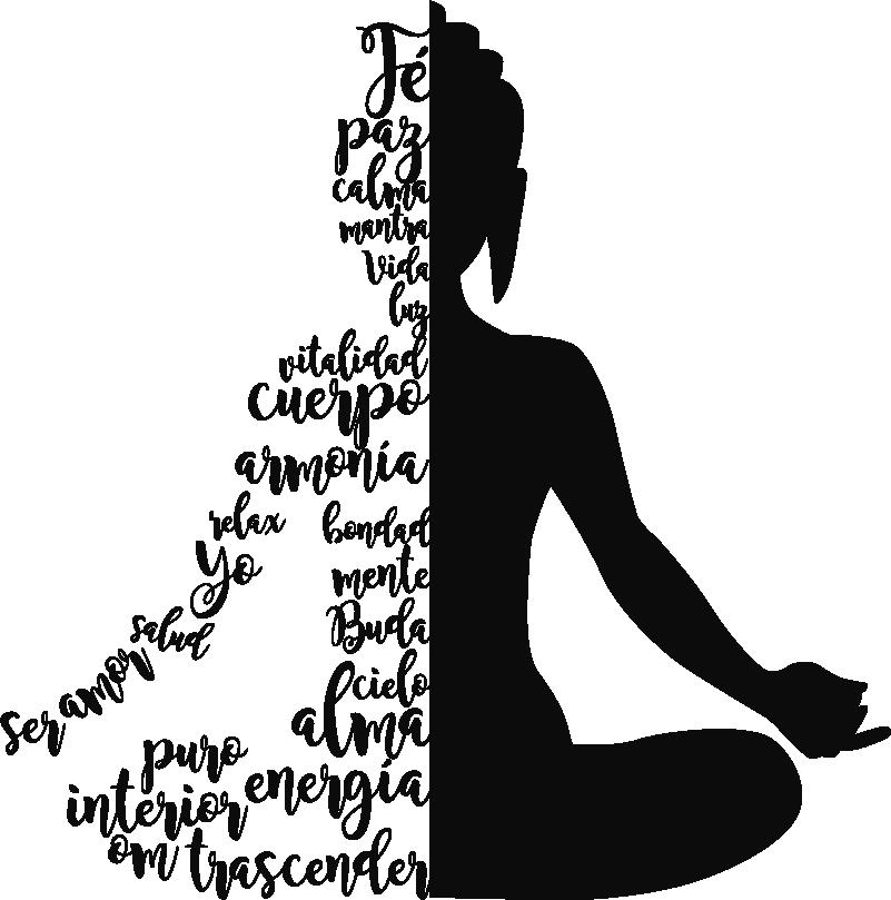 """TenVinilo. Vinilo pared Silueta yoga texto. Silueta adhesiva de una persona en la posición """"flor de loto"""", la mitad de la cual está creada a partir de palabras. Envío Express en 24/48h."""