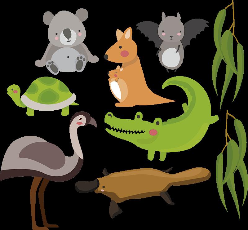 TenVinilo. Vinilo pared de animales australianos. ¡Rinde homenaje a todos los animales que Australia nos dio con este fantástico vinilo pared infantil de animales! ¡Envío a domicilio!