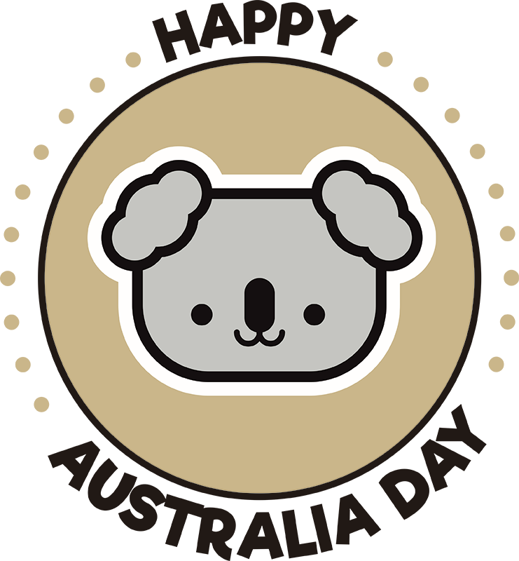 TenStickers. Happy Australia Day Home Wall Sticker. Decorate your home with this fantastic wall art decal, depicting a koala with the words ´Happy Australia Day´ surrounding it!