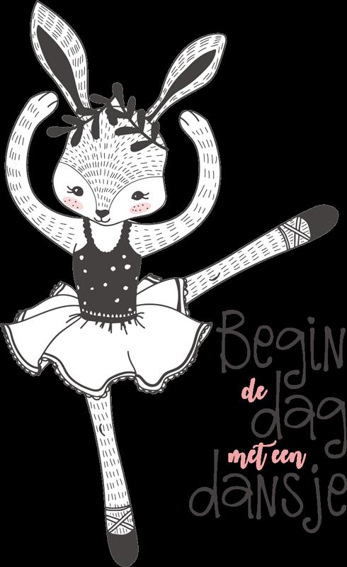 """TenStickers. Kinderkamer muursticker begin de dag met een dansje. Kinderkamer muursticker met de tekst """"Begin de dag met een dansje"""". Verkrijgbaar in verschillende afmetingen. Ervaren ontwerpteam."""