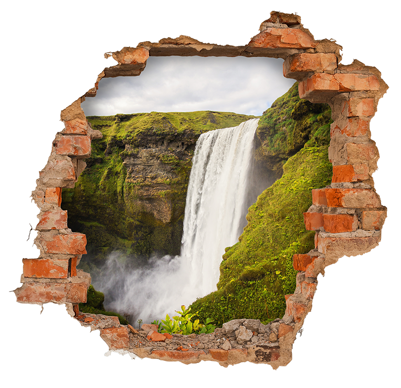 TenStickers. trompe l'oeil waterfall visual effects wall sticker. Visual effect waterfall trompe l'oeil wall sticker. A design with a view from a wall. Easy to apply,self adhesive and available in any required size.