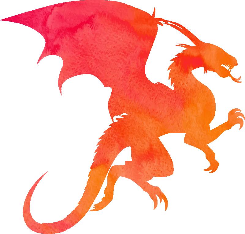 TENSTICKERS. ドラゴンシルエットモンスターデカール. カラフルなドラゴンのデザインのシルエットモンスターウォールステッカー。適用が簡単で、粘着性があり、必要なサイズで利用できます。