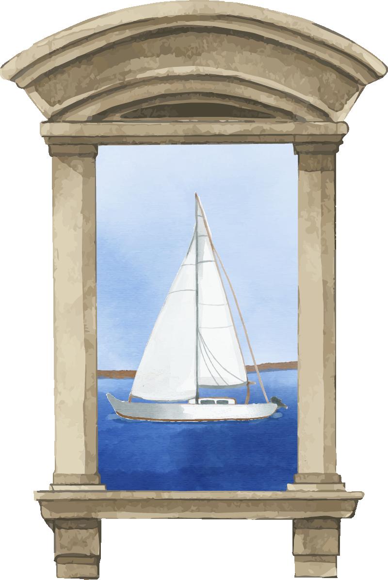 TenStickers. Sticker Mural Bateau en Peinture. Le design original de ce sticker trompe-l'oeil, qui représente un joli voilier sur l'eau, illuminera votre pièce de manière apaisante.