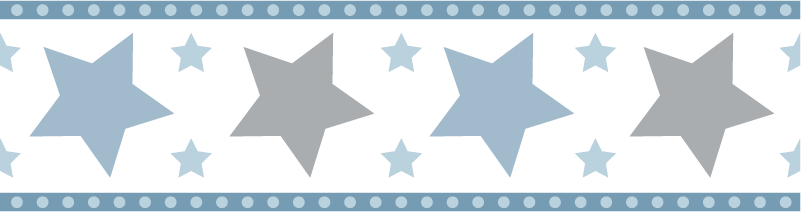TenVinilo. Cenefa decorativa infantil estrellas color azul. Cenefa decorativa y adhesiva para habitación infantil con estrellas de color azul y gris en tonos pastel. Elige medidas ¡Envío a domicilio!
