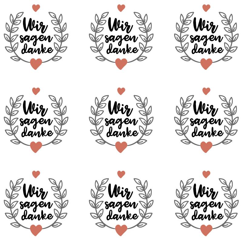 TenStickers. Sticker Hochzeit Danksagung. Ein Sticker den Sie auf Ihre Danksagungskarte aufkleben können. Vorallem angebracht nachdem Hochzeiten, Feste oder große Events stattgefunden haben.