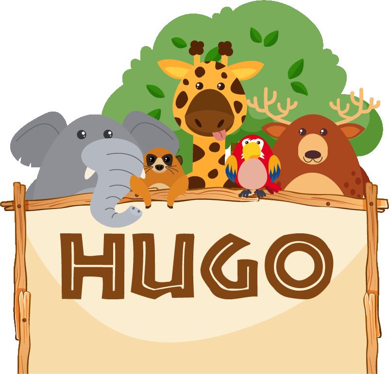 TenStickers. Sticker Chambre Enfant Jungle Nom Personnalisable. Sticker mural chambre d'enfant personnalisable, pour partir en safari depuis sa chambre ! Sticker de dessin représentant des animaux de la jungle.