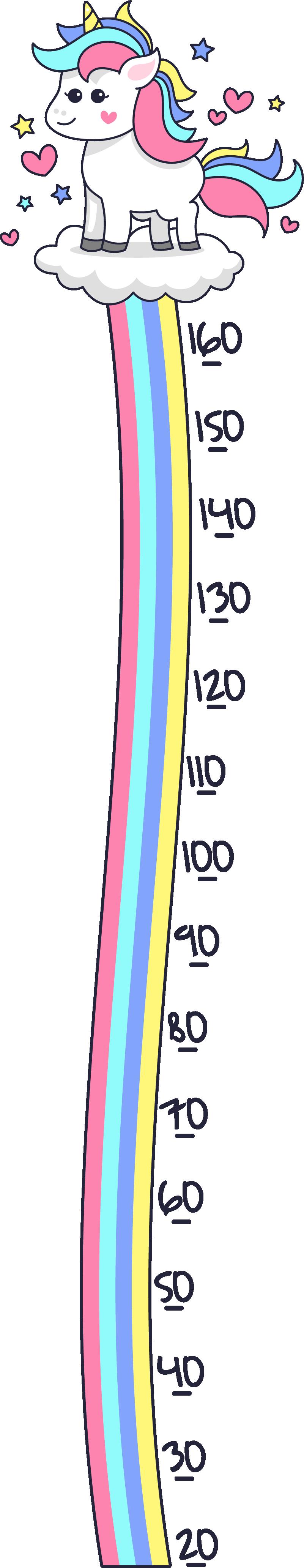 TENSTICKERS. ユニコーンとレインボーメーターの高さチャートの壁用ステッカー. 子供部屋の装飾のためのユニコーンとレインボーメーターの高さグラフステッカー。高品質で粘着性のあるビニール素材でできています。簡単に適用できます。