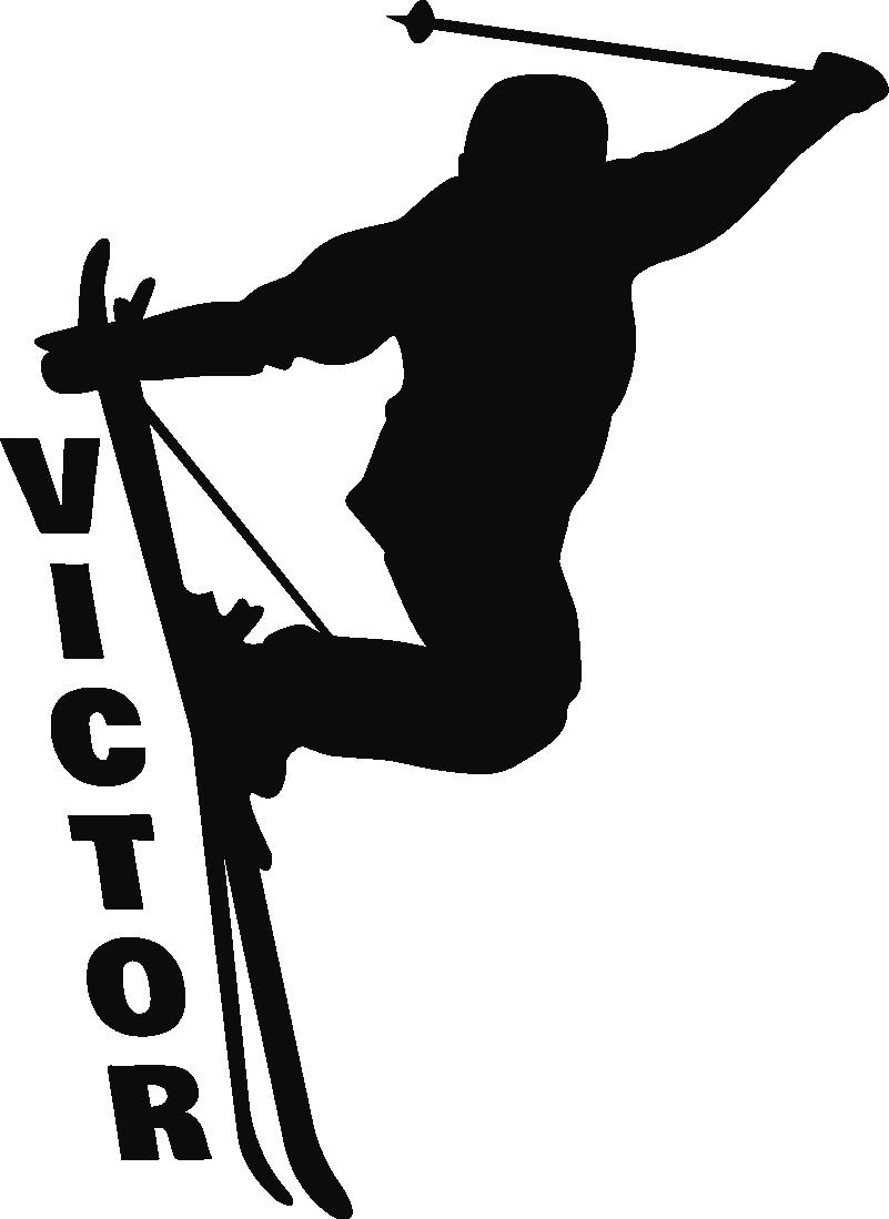TenStickers. Anpassbarer Skifahrer Silhouette Wandtattoo. Sport Wandaufkleber Design eines Skifahrers. Ein Design, das mit jedem gewünschten Namen personalisierbar ist. Erhältlich in jeder gewünschten Größe und einfach anzuwenden.