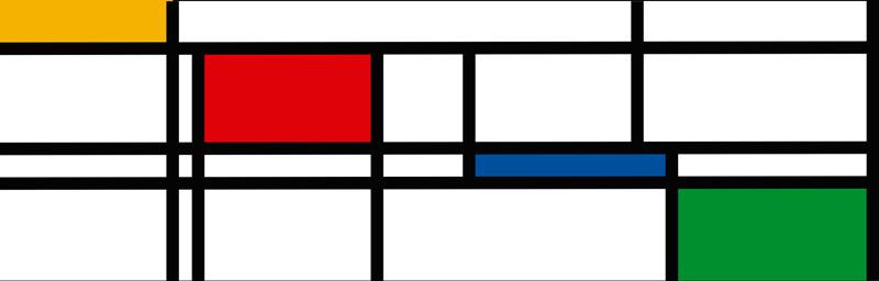 TenVinilo. Vinilo pared colores minimalistas. Original cenefa adhesiva formada por líneas y cuadrados de colores, que imita el Neoplasticismo de Mondrian. +10.000 Opiniones satisfactorias.