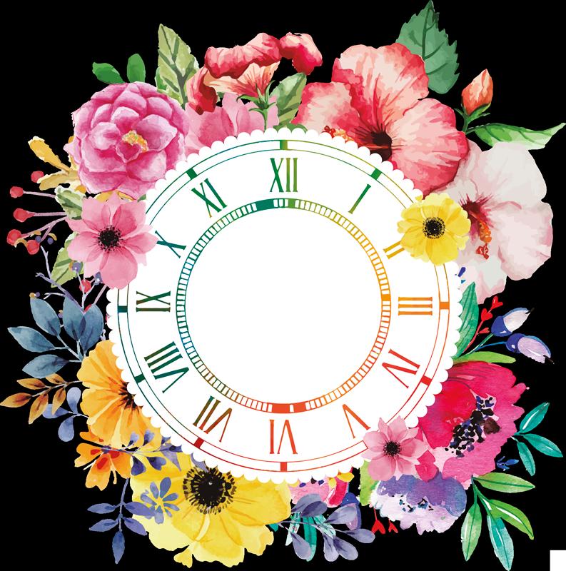 TenStickers. Sticker Horloge Mural Fleurs Ornementales. Sticker horloge mural à motifs floraux. Pour tout type de pièce. Fleurs colorées et lumineuses pour votre intérieur. Autocollant horloge décoratif.