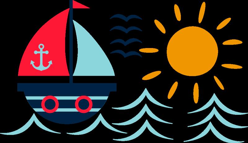 TenVinilo. Vinilo habitación infantil dibujo de barco. Pegatina infantil formada por el diseño de un barco navegando por el mar, bajo un sol radiante y una bandada de pájaros. +50 Colores Disponibles.