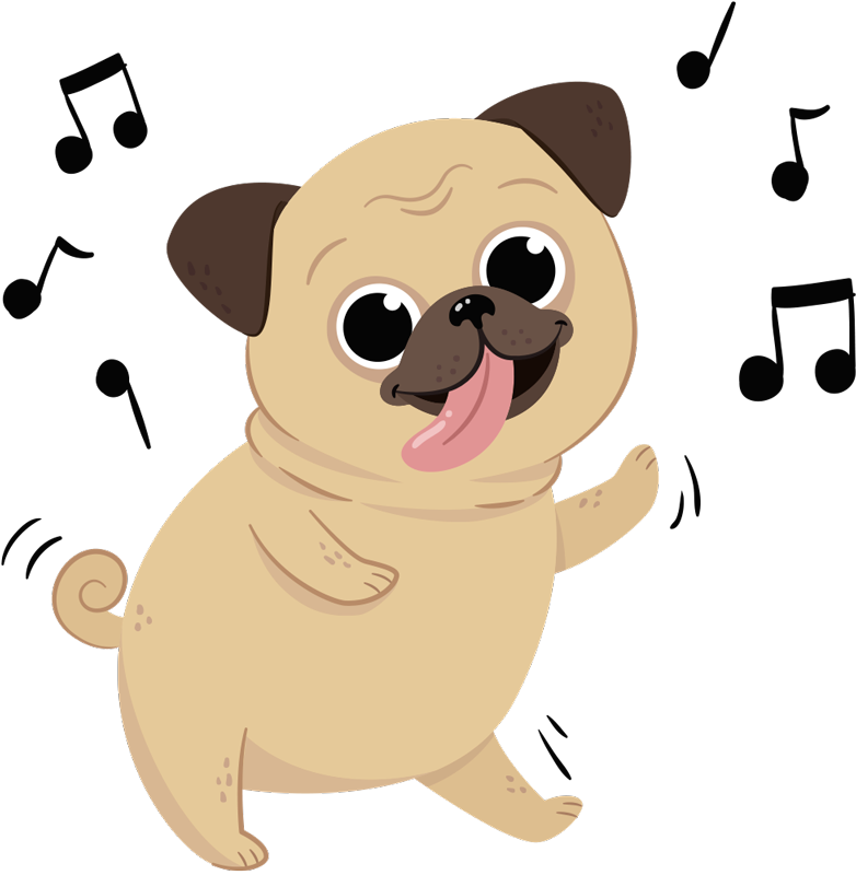 TenStickers. Musical Dog Animal Wall Sticker. Decorate your wall with this fantastic wall art sticker depicting a dog dancing to a lovely artful tune! Choose your size.
