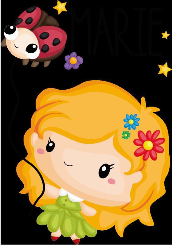 TenVinilo. Vinilo habitación infantil Mariquita dibujo. Pegatina personalizada para habitación infantil formada por la ilustración de un niña y una pequeña mariquita. Descuentos para nuevos usuarios.