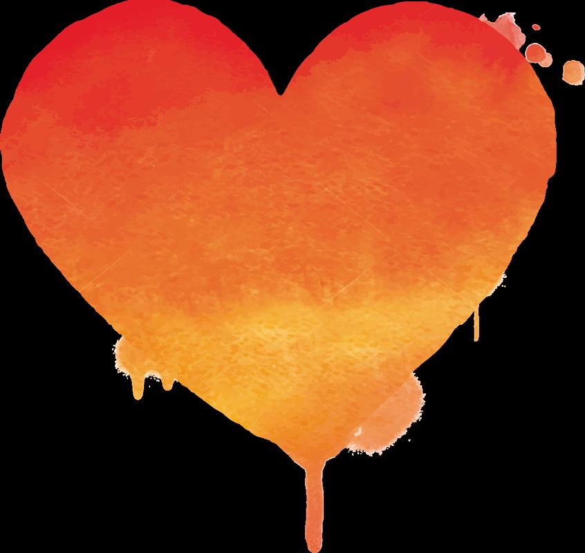 TenStickers. Valentijn stickers Oranje kunst hartje. Een prachtige en  kleurrijke hart muursticker, met de kleuren van de zonsondergang: geel, oranje en rood zal vreugde brengen naar uw woonkamer!