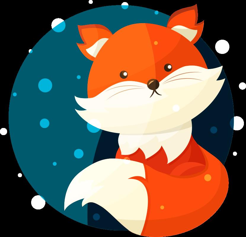 TenStickers. Muurstickers kinderkamer schattige vos. Een cartoon sticker van een schattig vosje: Deze schattige vos is een van onze beste kinderkamer muursticker opties om kinderen mee blij te maken!