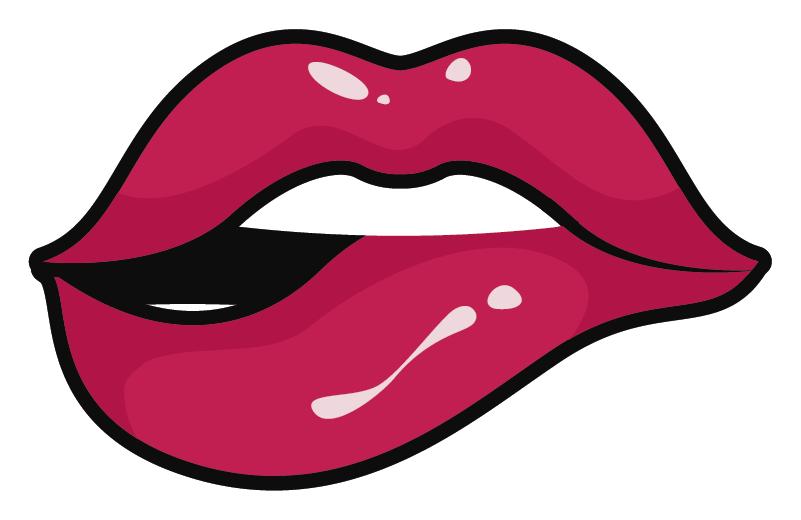 TenStickers. verschiedene Aufkleber Zungenbiss. Möchten Sie Ihr iPhone dekorieren? Wieso dann nicht mit einem unserer dekorativen Aufkleber! Er zeigt eine Biss auf die Lippe.