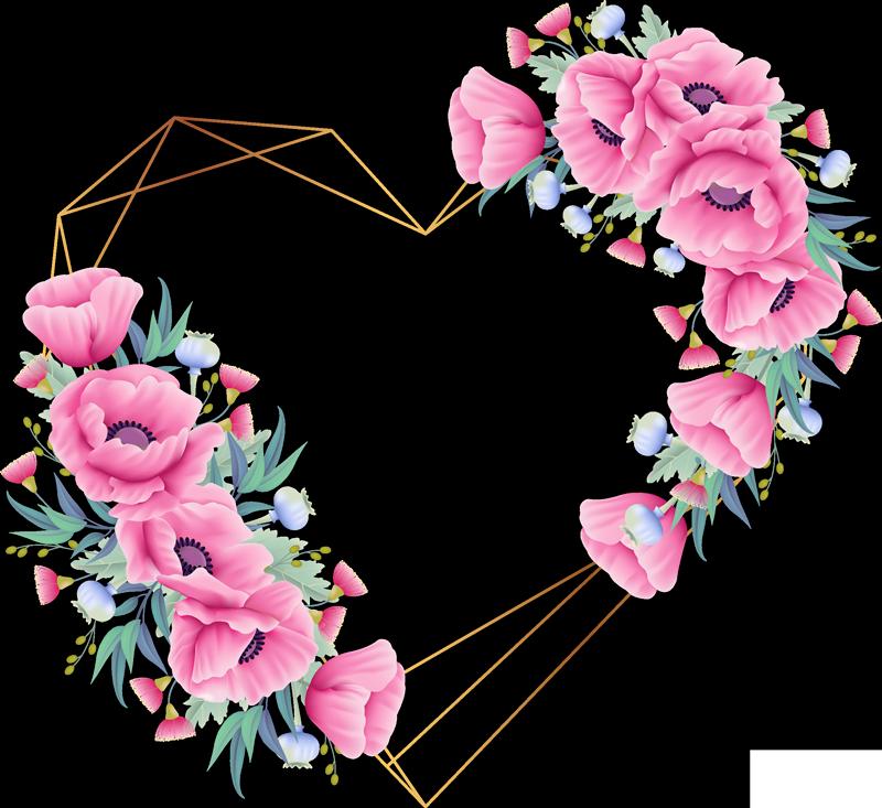 TenVinilo. Vinilo original corazón flores eucalipto. Original pegatina adhesiva formada por el diseño de un corazón geométrico dorado decorado con flores de eucalipto. +10.000 Opiniones satisfactorias.