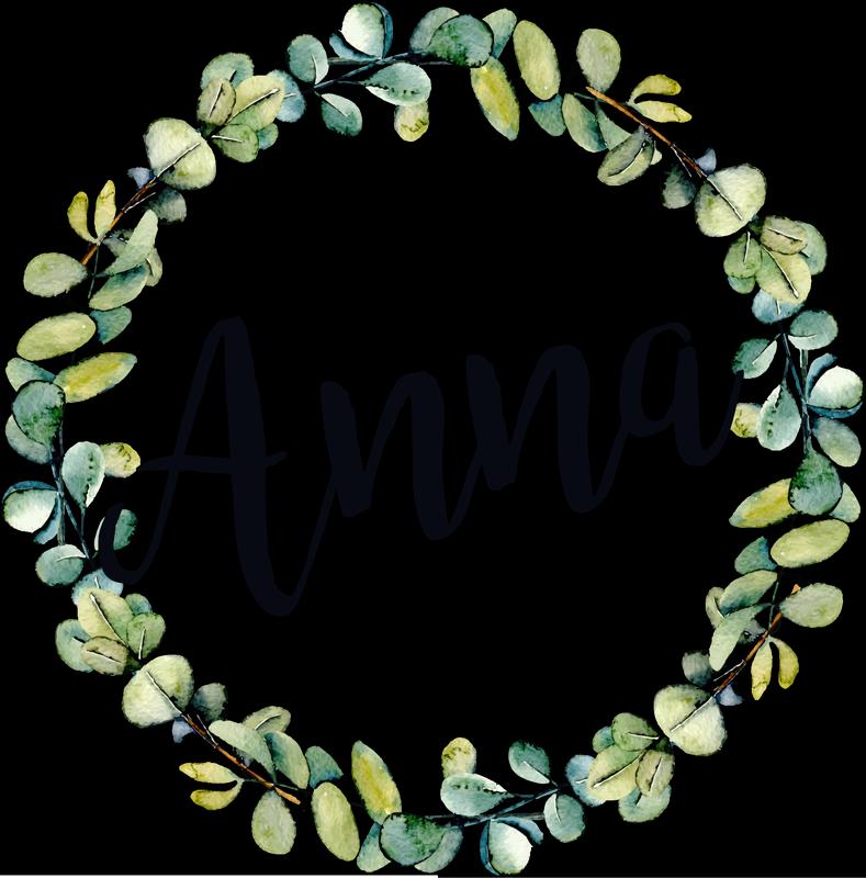 TenStickers. Vinil decorativo personalizável folhas de eucalipto com nome. Autocolante decorativo personalizável com um círculo formado por folhas de eucalipto com um nome à sua escolha no seu interior.