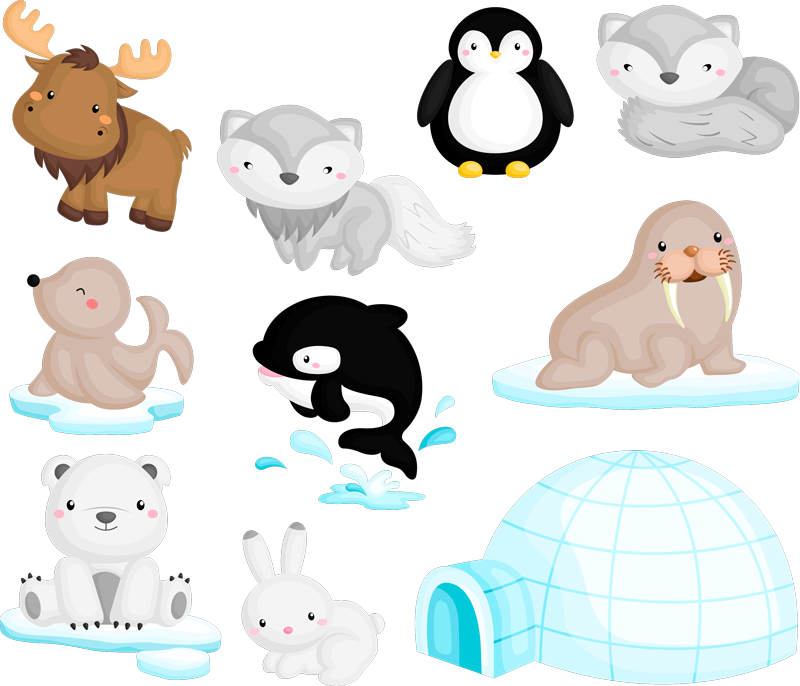 TenStickers. Arctic Wildlife Home Wall Sticker. Bring the icy world into your children's bedroom or classroom with these cute arctic wildlife wall stickers. Choose from a wide range of sizes!