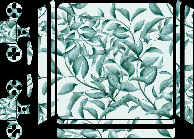 TenVinilo. Pegatina para PS4 Hojas de eucalipto. Elegante pegatina para PS4 y controladores con el diseño de unas hojas de eucalipto sobre un fondo de color blanco. Descuentos para nuevos usuarios.