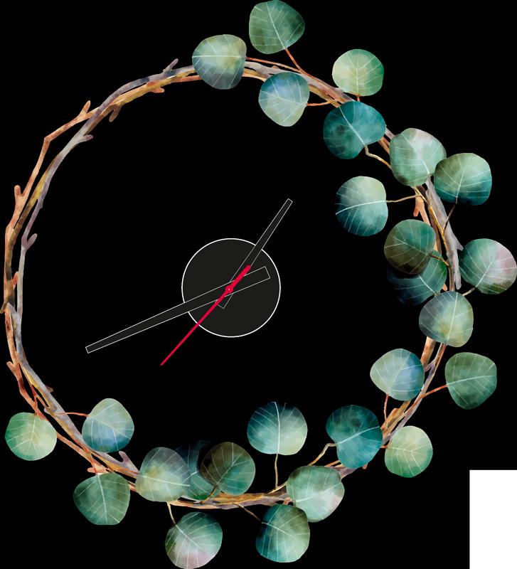 Tenstickers. Eukalyptuskello tarra kellotarra. Koristeellinen eukalyptuskello seinäkello tarra kotiin ja toimistoon. Saatavana halutun kokoisena ja helppo levittää.